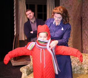 Tim Dominicus, David Cobert, and Shana Kulhavy in A Christmas Story: The Musical