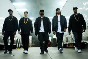 Aldis Hodge, Neil Brown Jr.,  Jason Mitchell, O'Shea Jackson Jr., and Corey Hawkins in Straight Outta Compton