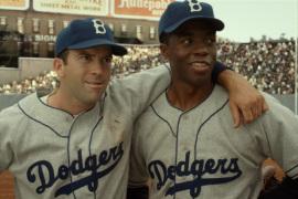 Lucas Black and Chadwick Boseman in 42