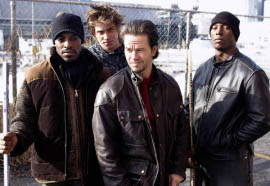 Andre Benjamin, Garrett Hedlund, Mark Wahlberg, and Tyrese Gibson in Four Brothers
