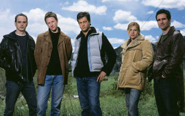 Grant Varjas, Kelli Simpkins, Andy Paris, Clea Duvall, and Nestor Carbonell in The Laramie Project