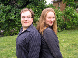 Dana Joel Nicholson and Allison Collins-Elfline in the Riverbend Theatre Collective's The Last Five Years
