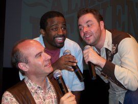 Brad Hauskins, C.K. Edwards, and Adam Clough in Almost Heaven