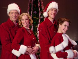 Kent M. Lewis, Amy Decker, Gabriel Beck, and Erin Dickerson in White Christmas