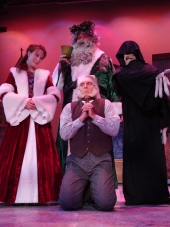 Erin Dickerson, George Schulz, Adam Michael Lewis, and Tristan Tapscott in A Christmas Carol