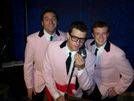Justin Droegemueller, Todd Meredith, and Tristan Layne Tapscott in Buddy: The Buddy Holly Story