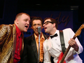 James Fairchild, Vaughn M. Irving, and Todd Meredith in Buddy: The Buddy Holly Story