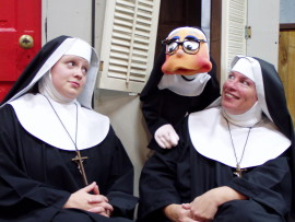 Jessica Myers and Terese Touvelle, with Sister Mary Annette