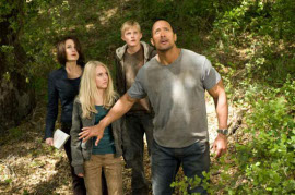 Carla Gugino, AnnaSophia Robb, Alexander Ludwig, and Dwayne Johnson in Race to Witch Mountain