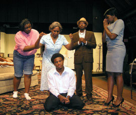 Alysha McElroy-Hodges, Shellie Moore Guy, Curtis Lewis, Paul-Richard Pierre, and Shanna Nicole Cramer in A Raisin in the Sun