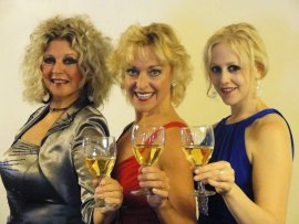 Kathi Osborne, Carrie Saloutos, and Jessica Swersey in Circa '21's Mid-Life! The Crisis Musical