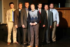Daniel DP Sheridan, Pat Flaherty, Eddie Staver III, Tristan Tapscott, David Furness, Louis Hare, and Aaron Randolph III in Glengarry Glen Ross