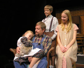 Laila Haley, John Weigandt, Andrew Hall, and Sydney Crumbleholme in Papa's Angels