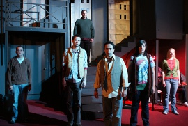 David Turley, Chris Walljasper, Kevin Grastorf, Jason Platt, Sara Elizabeth King, and Cari Downing in Tired American Dream