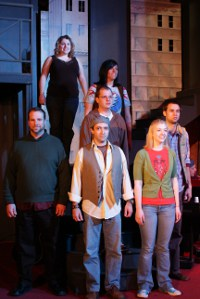 Kevin Grastorf, Annie Walljasper, Jason Platt, David Turlley, Sara Elizabeth King, Cari Downing, and Chris Walljasper in Tired American Dream
