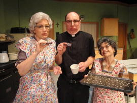 Licia Watson, Tom Walljasper, and Nicole Savitt in Church Basement Ladies 2: A Second Helping