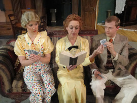 Elizabeth Miller, Carrie Sa Loutos, and Tristan Tapscott in Whodunit... the Musical