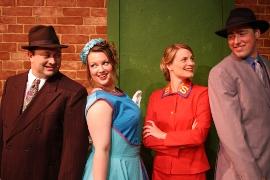 J. Adam Lounsberry, Tracy Pelzer-Timm, Jenny Winn, and Nathan Bates in Quad City Music Guild's Guys & Dolls