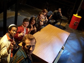 ensemble members in the Clinton Area Showboat Theatre's Rent