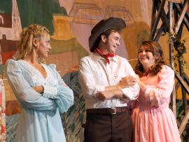 Heather Herkelman, James Daniel Pepper, and Clara Loter in Oklahoma!