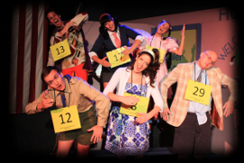 Bryan Tank, Sara King, Kelly Lohrenz (top row), James Bleecker, Liz Millea, and David Turley (bottom row) in The 25th Annual Putnam County Spelling Bee