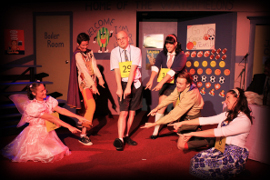 Kelly Lohrenz, Bryan Tank, David Turley, Sara King, James Bleecker, and Liz Millea in The 25th Annual Putnam County Spelling Bee