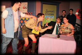 Joe Maubach, James Bleecker, Pat Flaherty, and Tracy Pelzer-Timm in The 25th Annual Putnam County Spelling Bee