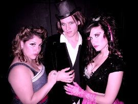 Annie Walljasper, Bryan Tank, and Kelly Lohrenz in The Rocky Horror Show