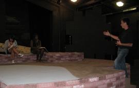 Macy Marie Hernandez, Vicki Owoo-Battlet, and director Scott Irelan rehearse Wrestling with Angels & Demons