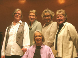 Mary New, Susan Shullaw, Nancy Hauserman, Casey Mahon, and Maggie Conroy in The Tag Sale Project