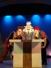 Don Denton, Bret Churchill, and Laura Miller in Jack Frost Saves Christmas