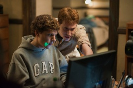 Jesse Eisenberg and Joseph Mazzello in The Social Network