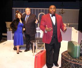 Diane Greenwood, John VanDeWoestyne, and Vincent Briley in Lend Me a Tenor