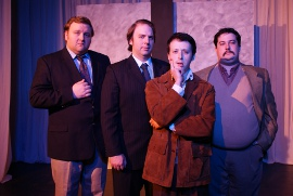 James Fairchild, Adam Michael Lewis, C.J. Langdon, and Joe Maubach in Frost/Nixon