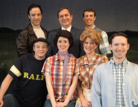 Courtney Crouse, Marc Ciemiewicz, and Ryan Naimy (back row), and Tristan Layne Tapscott, Laurie Sutton, Dawn Trautman, and Don Denton in Happy Days: A New Musical
