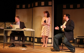 Mike Schulz, Erin Churchill, and Daniel M. Hernandez in Speed-the-Plow