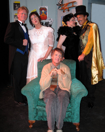 (clockwise from left) Mike Millar, Valeree Pieper, Erin Lounsberry, James Turilli, and Mark McGinn in The Drowsy Chaperone
