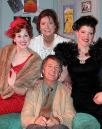 (clockwise from left) Melissa Anderson Clark, Valeree Pieper, Erin Lounsberry, and Mark McGinn in The Drowsy Chaperone