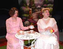 Elizabeth Buzard and Cara DeMarlie in The Importance of Being Earnest