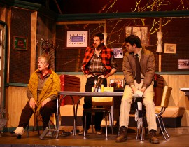 Marcia Sattelberg, Brandon Ford, and Aaron Conklin in the Timber Lake Playhouse's The Spitfire Grill