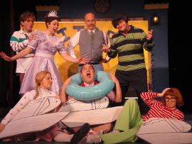 Tom Taylor,  Jillian Prefach, Jessica Sheridan, Brad Hauskins, Marc Ciemiewicz, Janos Horvath, and Sunshine Woolison-Ramsey in Junie B. in Jingle Bells, Batman Smells