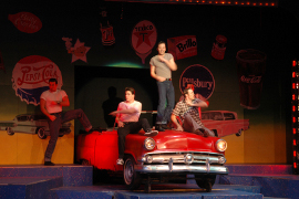 Drew Stark, David Bryant Johnson, Steve Lasiter, and Matthew Wiggin in Grease