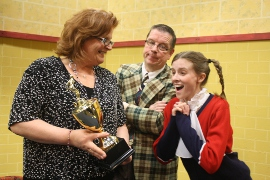 Kristine Oswald, Roger Akers, and Sarah Lousberry in The 25th Annual Putnam County Spelling Bee