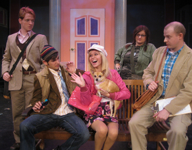 Mitch Donahue, Alexander Robin Kass, Samantha Pauly, Kristin Gilbert, and Tristan Layne Tapscott in Legally Blonde: The Musical