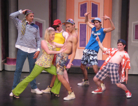 Eddie Staver III, Cara Chumbley, Mitch Donahue, Isaac Jankowski, and Tim Stompanato in Legally Blonde: The Musical