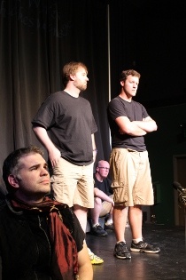 Andy Koski, Adam Lewis, Jake Walker, and Nate Curlott in The Complete Works of William Shakespeare [abridged]