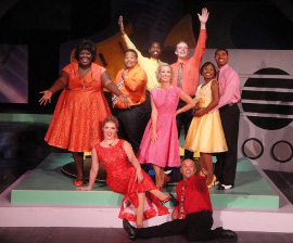 Deidra Grace, Sara King, C.J. Williams, Kiarri D. Andrews, Nina Schreckengost, Joseph J. Baez, Joanthan Scott Roth, Patricia Gibson, and Denzel Edmondson in Smokey Joe's Cafe