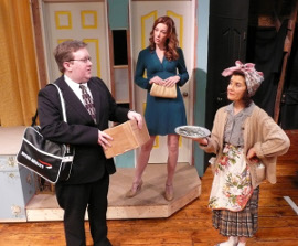 Bryan Woods, Sarah Hayes, and Diane Greenwood in Noises Off