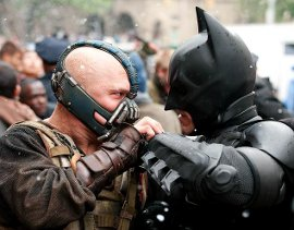 Tom Hardy and Christian Bale in The Dark Knight Rises