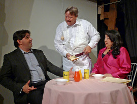 Nathan Johnson, Don Hazen, and Cindy Ramos in 100 Lunches: A Gourmet Comedy
